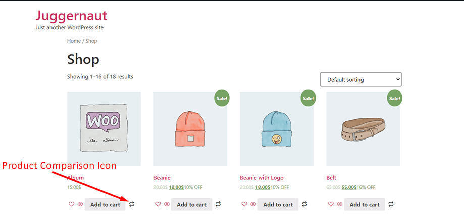 Product comparison module on display in shop page