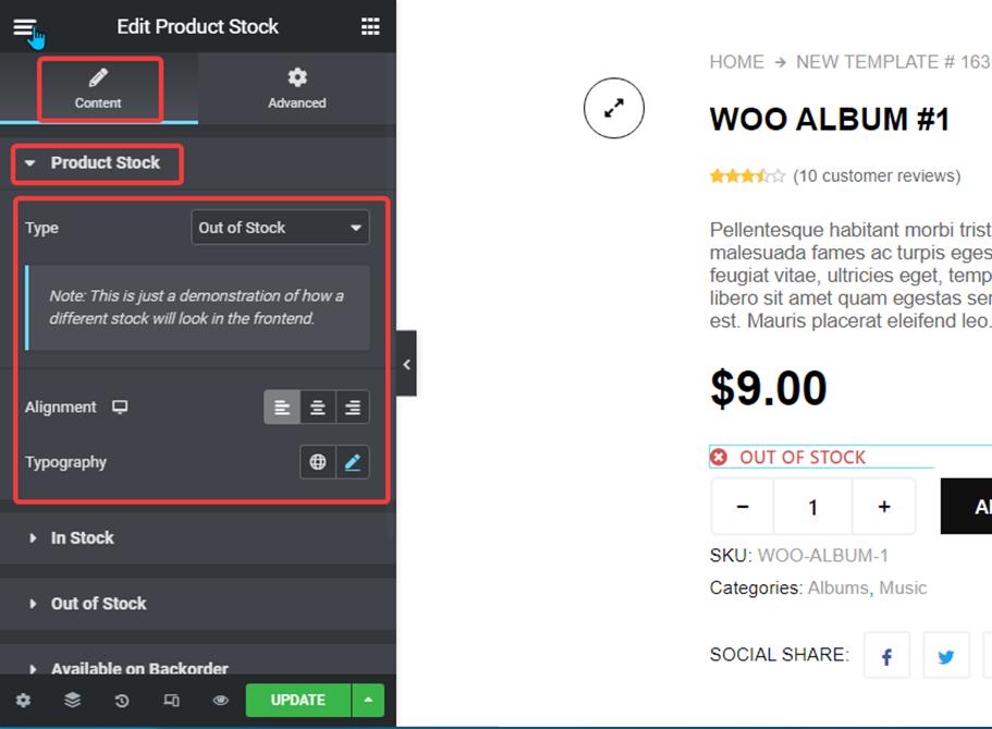 product stock settings