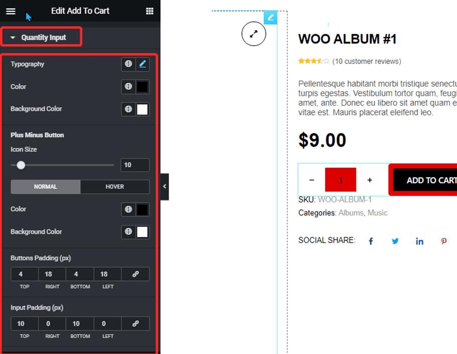 quantity input style settings