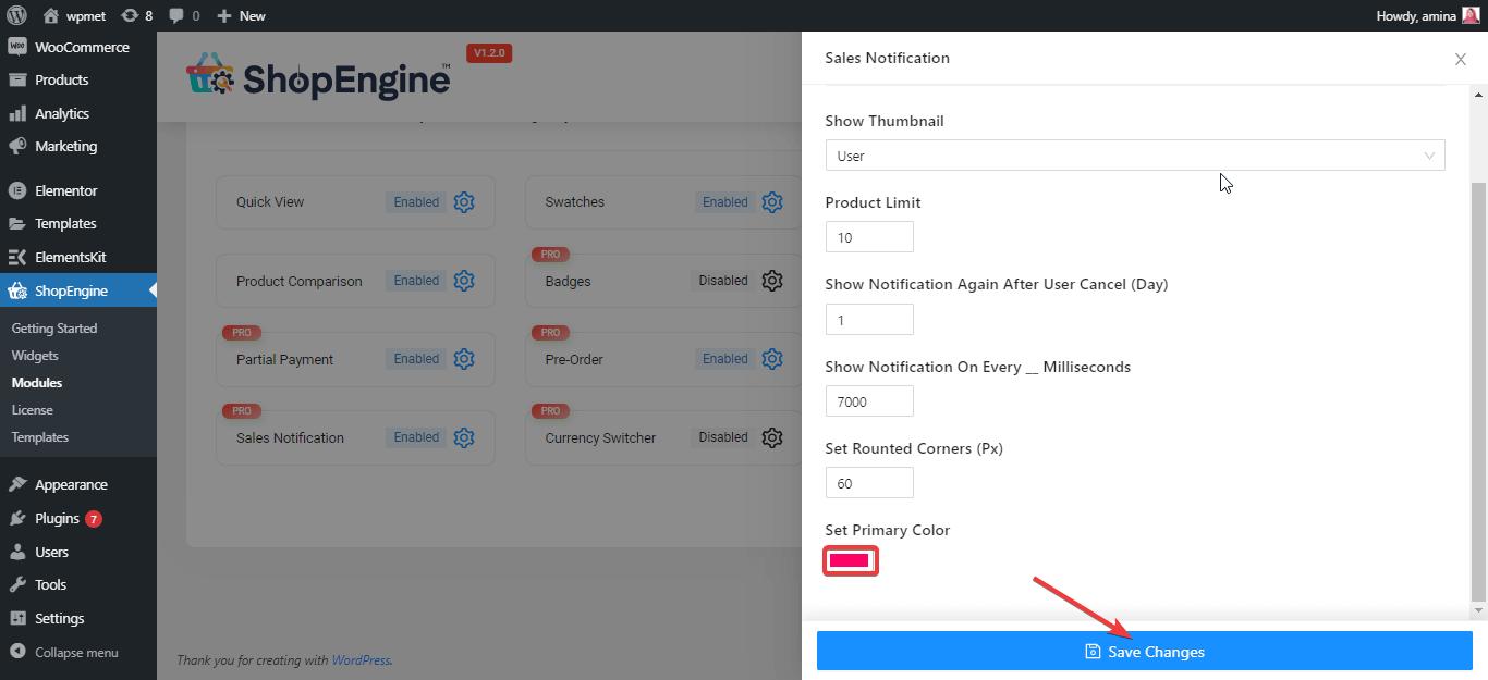 Save sales notification