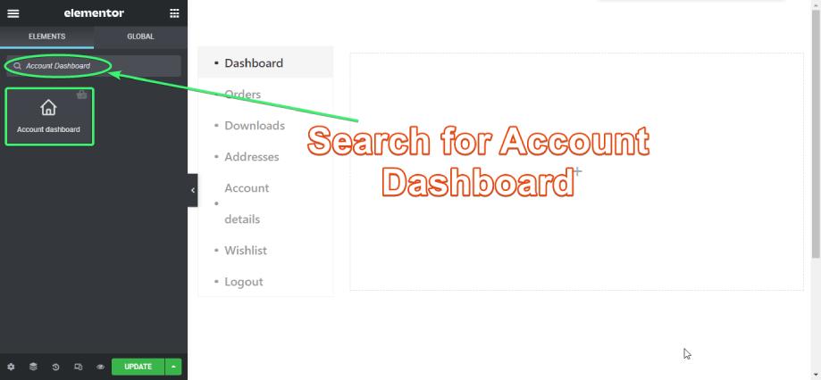 Find the Account Dashboard Widget on Elementor