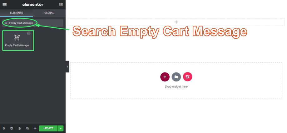 Search empty cart message widget on elementor