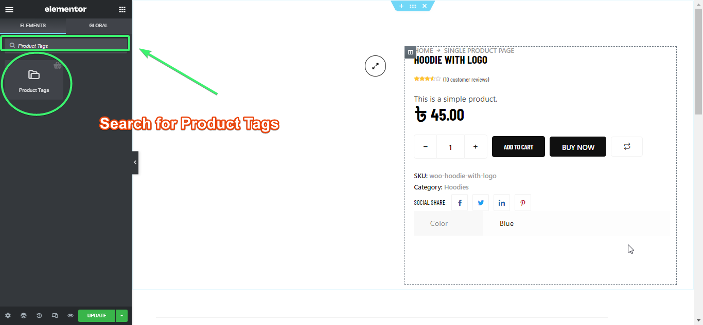 Search for the product tags widget of ShopEngine