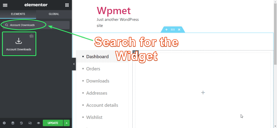 search for account downloads widget of shopengine on elementor