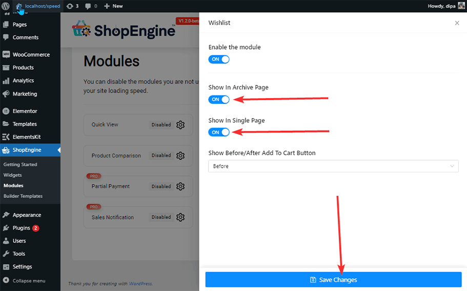 settings configuration wishlist modules