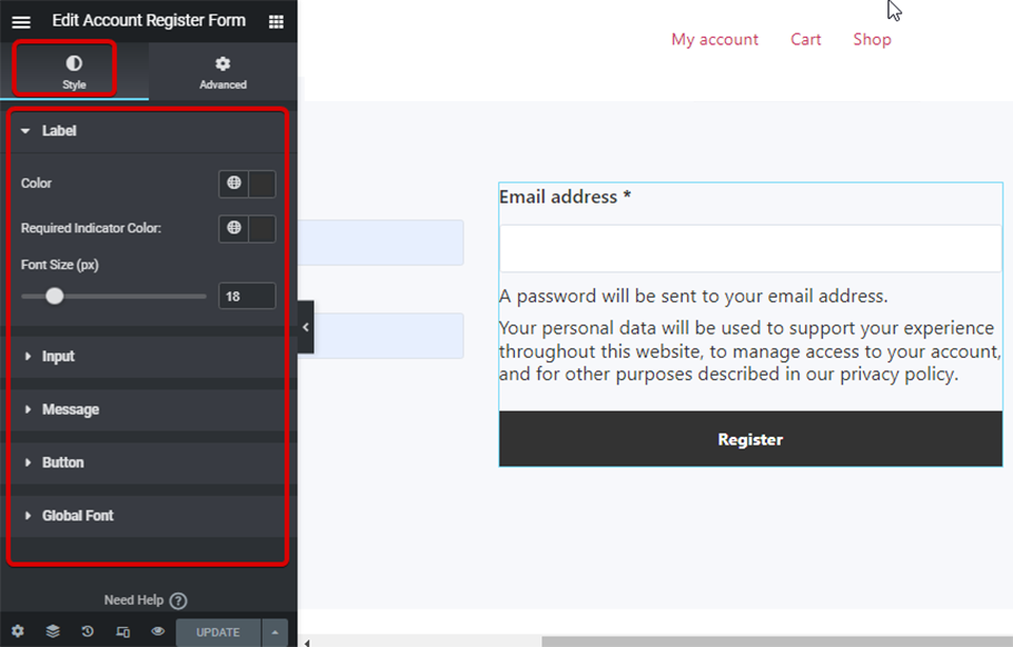 style settings account form register