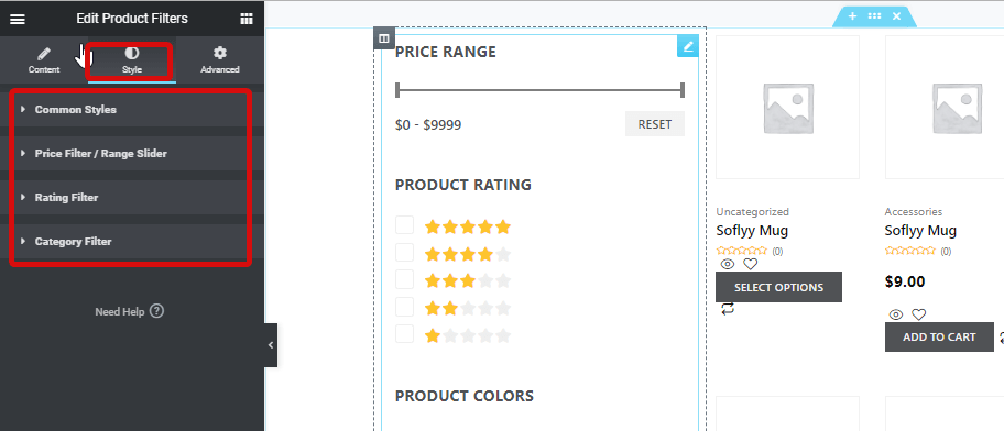 style settings product filters