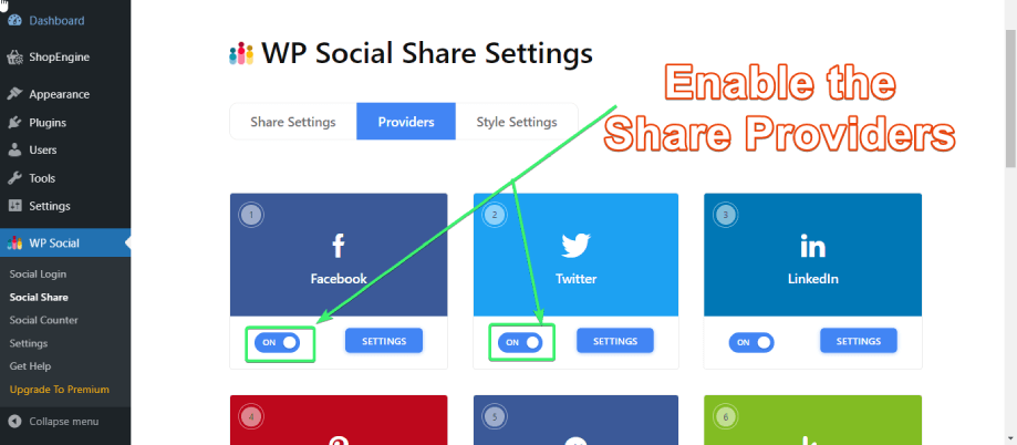 Switch the required share providers ON from Wp Social