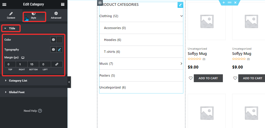 title style product categories