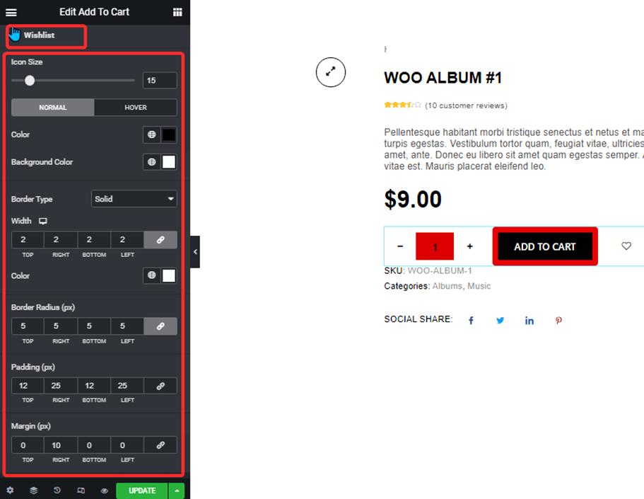 Wishlist style settings of add to cart widget