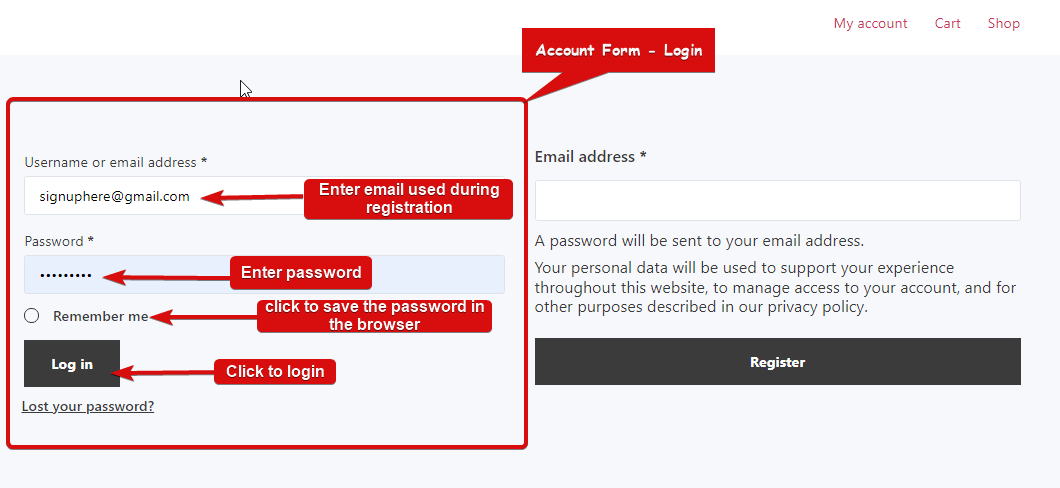 Preview Account Form Login