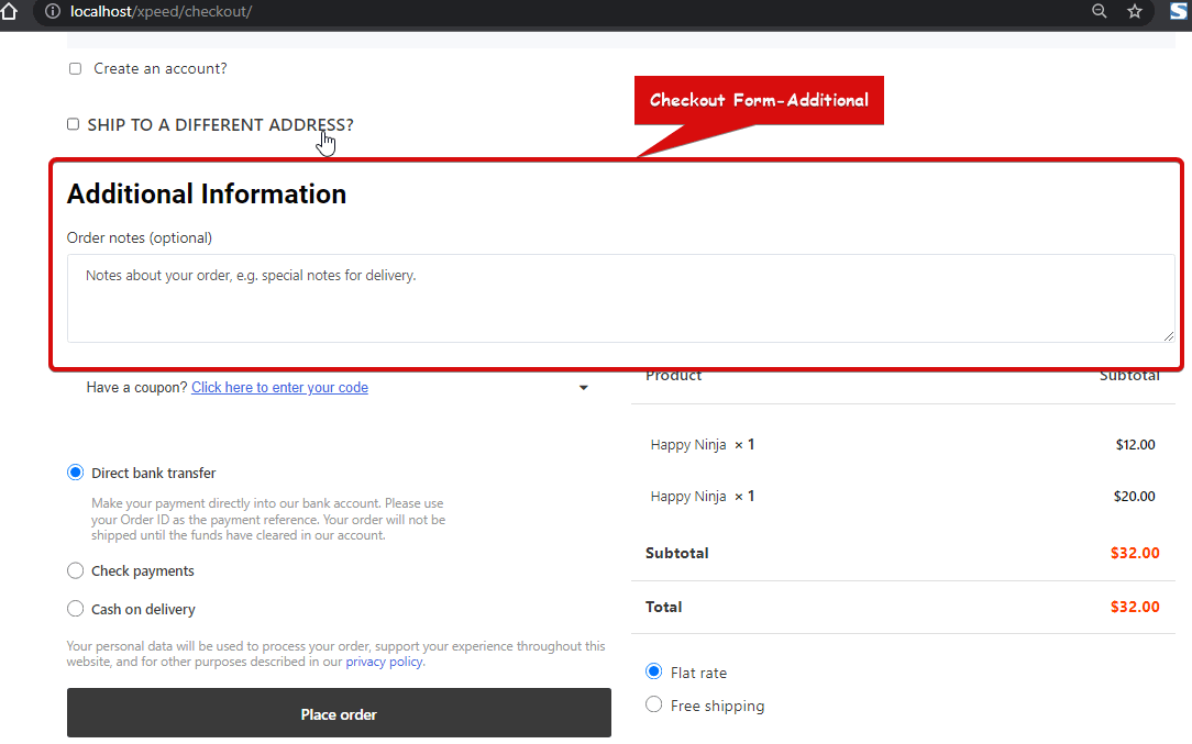 Preview Checkout Form-Additional