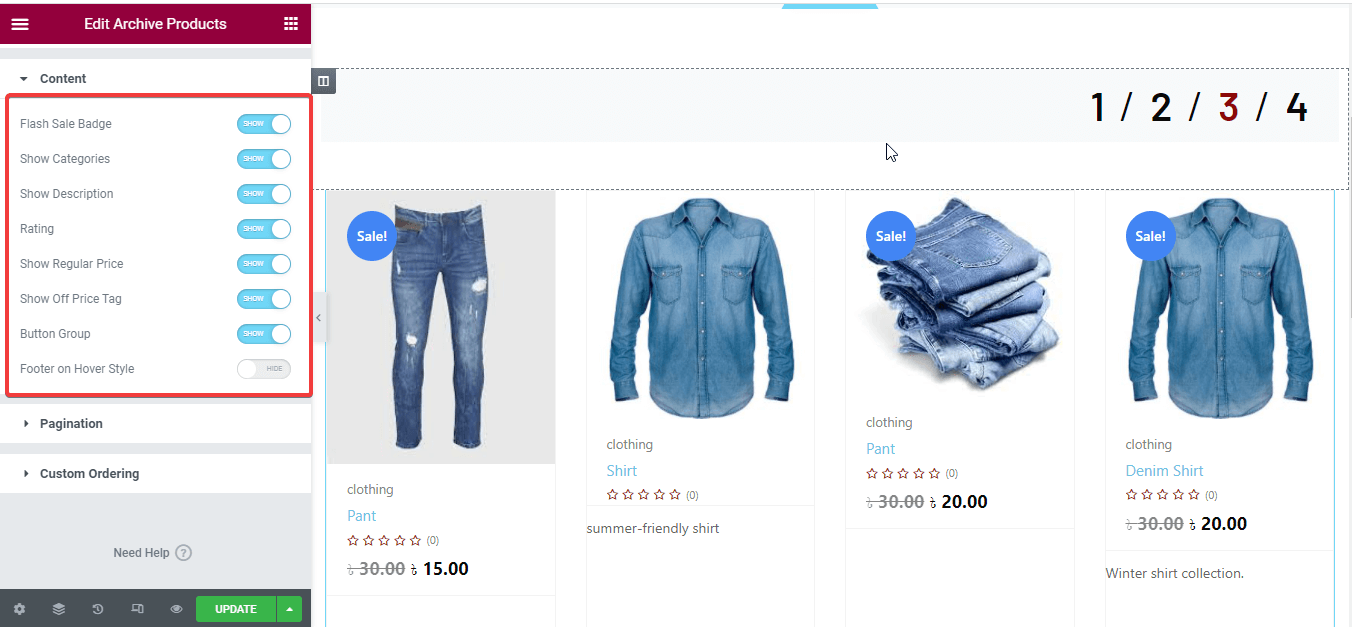 Edit archive product content to customize shop page