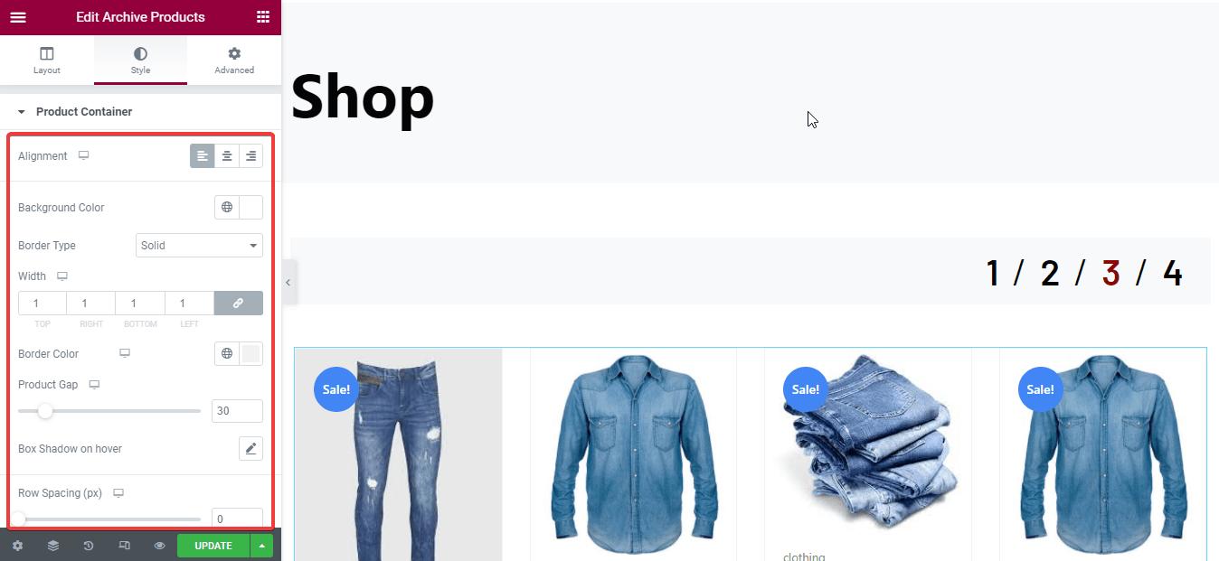 Shop page customization
