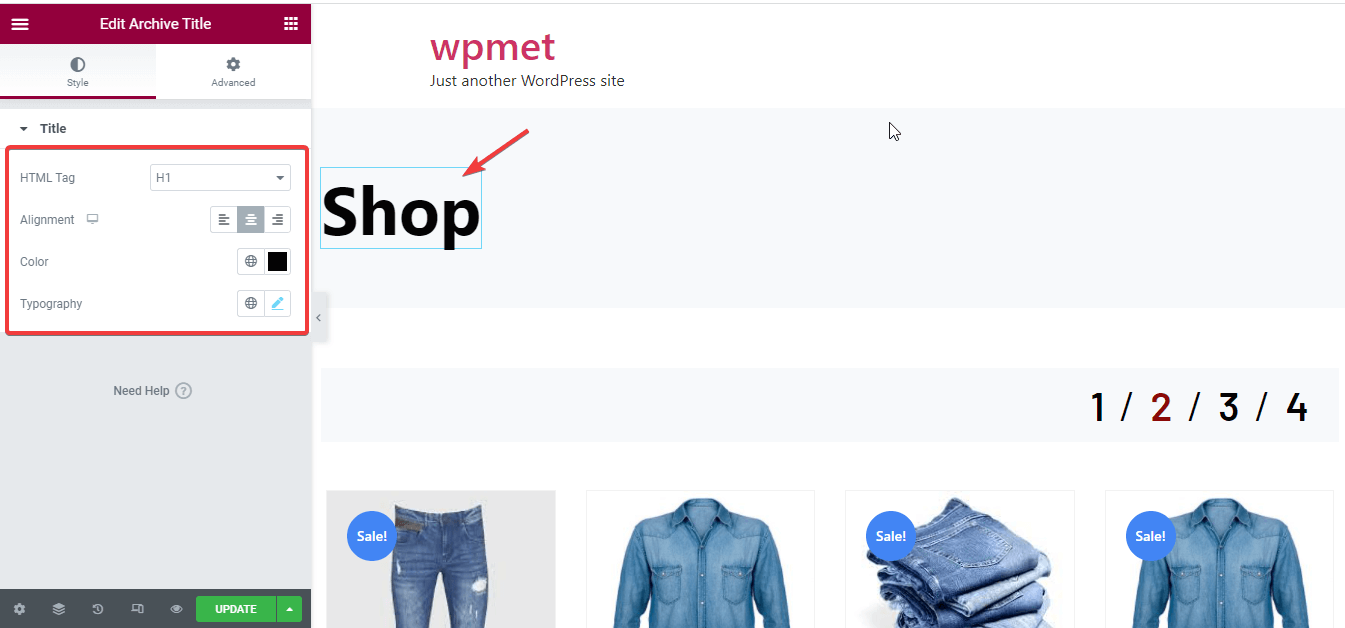 Edit archive title for shop page customization