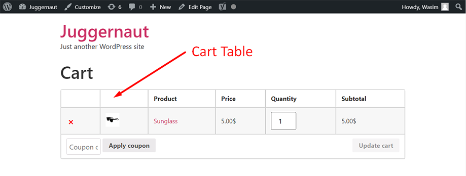 Cart table on front end