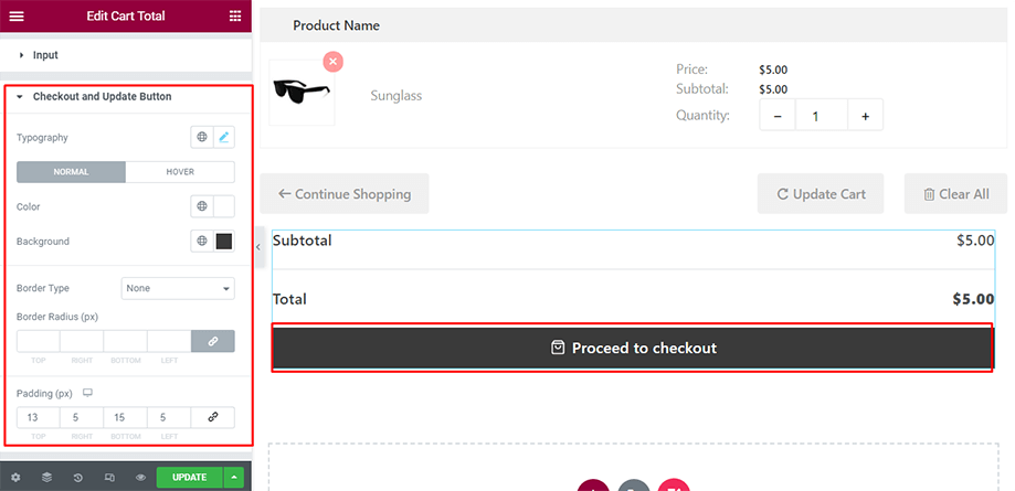 Cart total on display with checkout and update button section