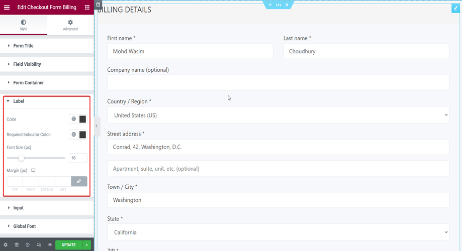 Checkout form- billing with label section