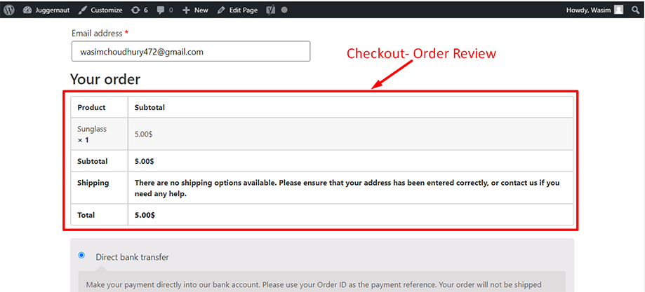 Checkout-order review widget on the checkout page