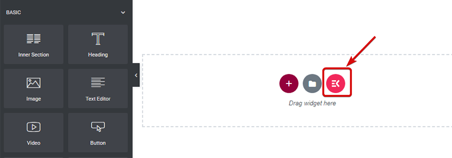 Click ElementsKit button