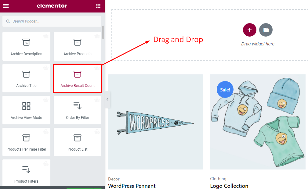 Drag and drop archive result count widget
