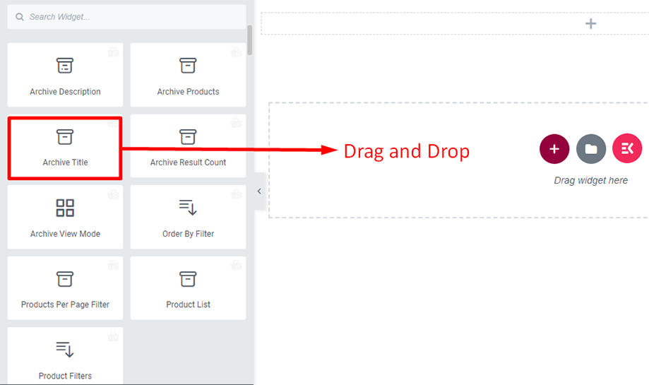 Drag and drop archive title widget