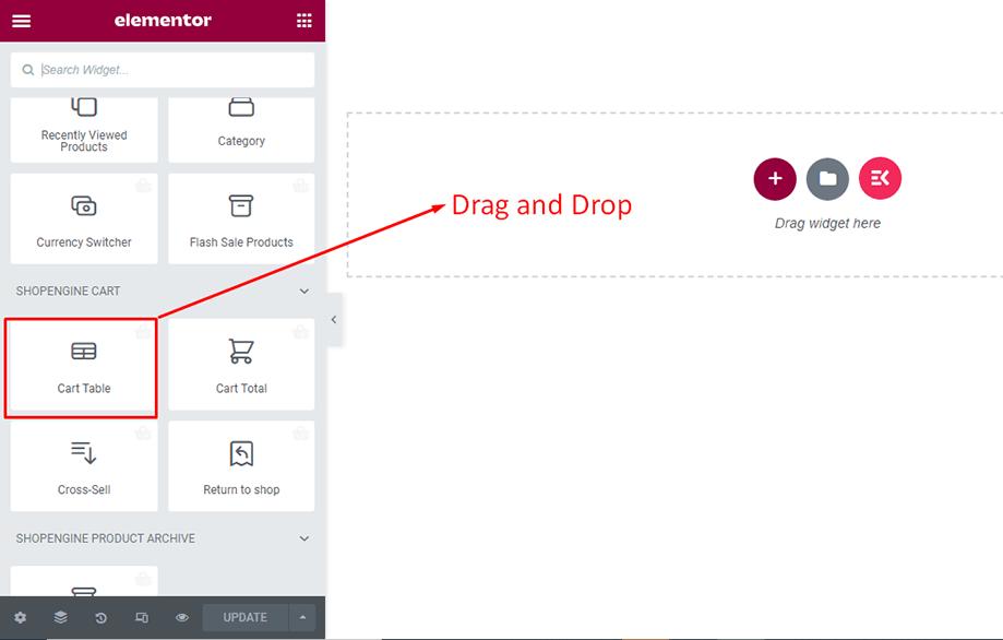 Drag and drop cart table widget