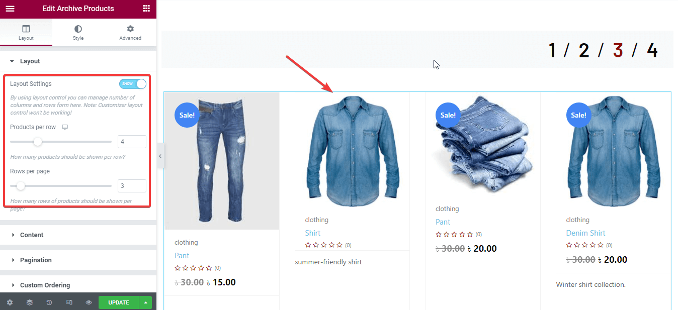Edit archive products to customize WooCommerce shop page