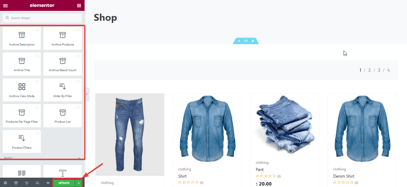 Update customized shop page