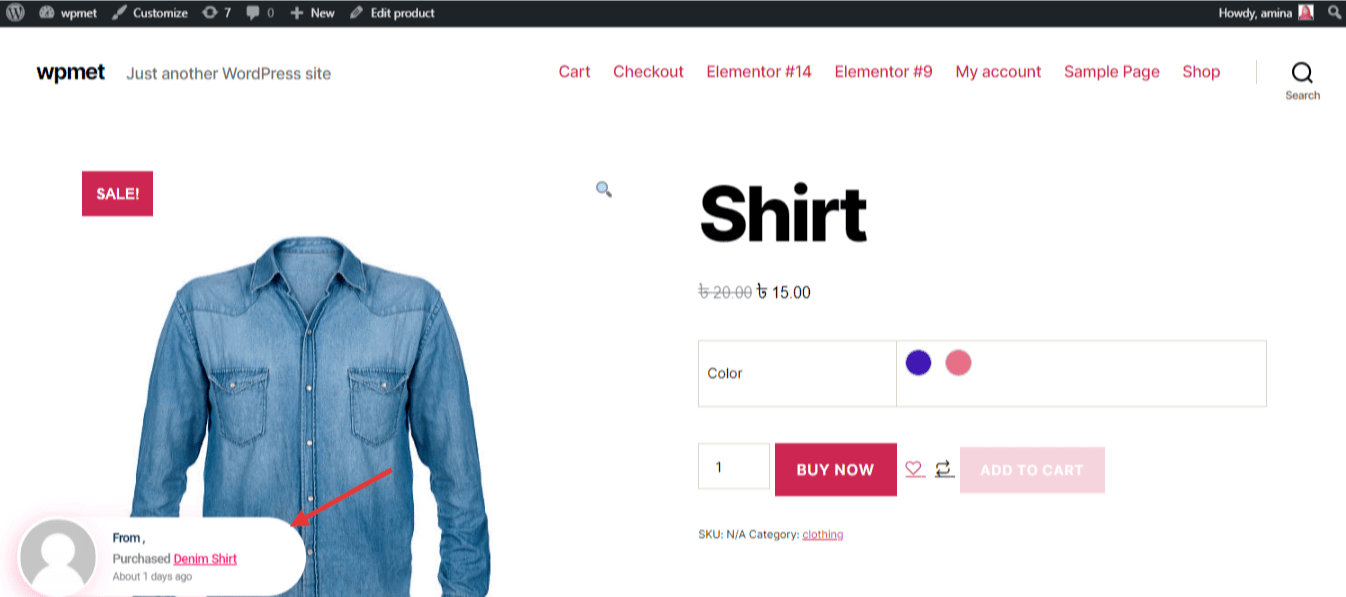 Add sales notification to boost product page conversion rate