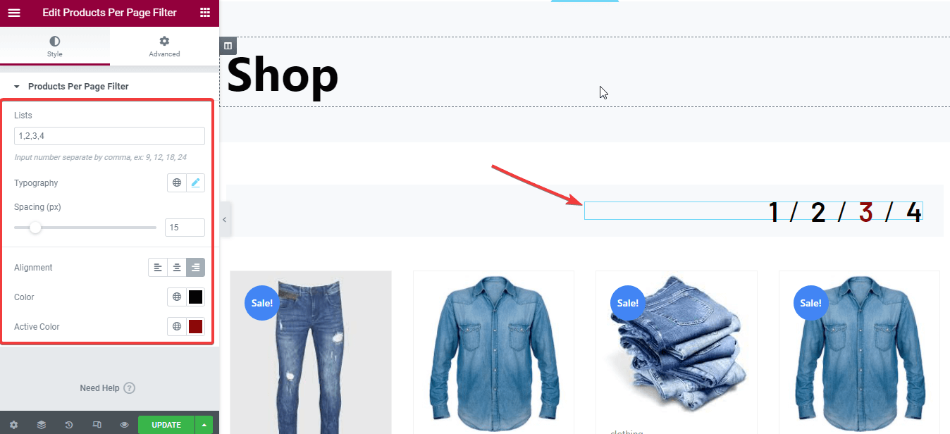 customize shop page with widget