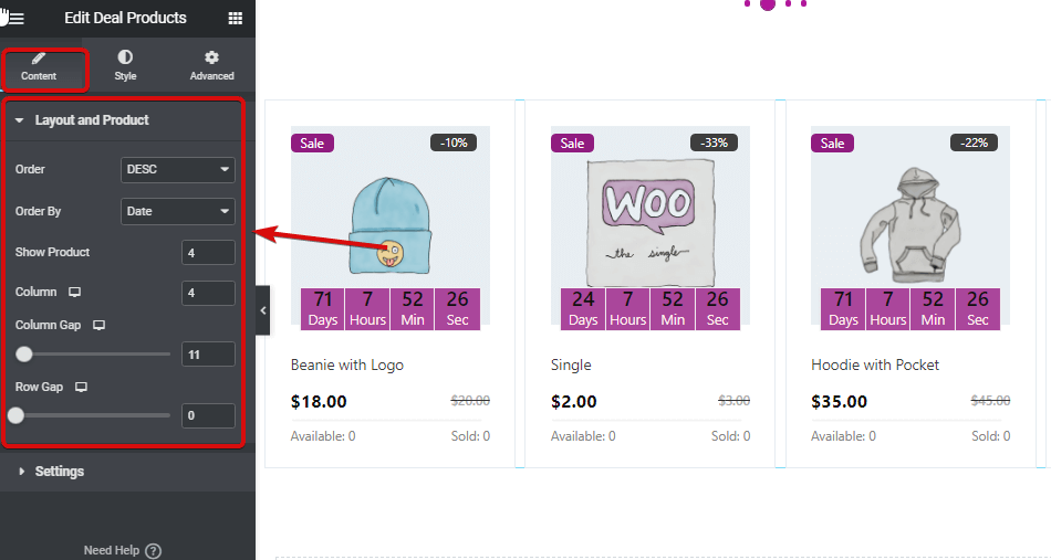 layout_and_product_settings_of_deal_products_widget.png