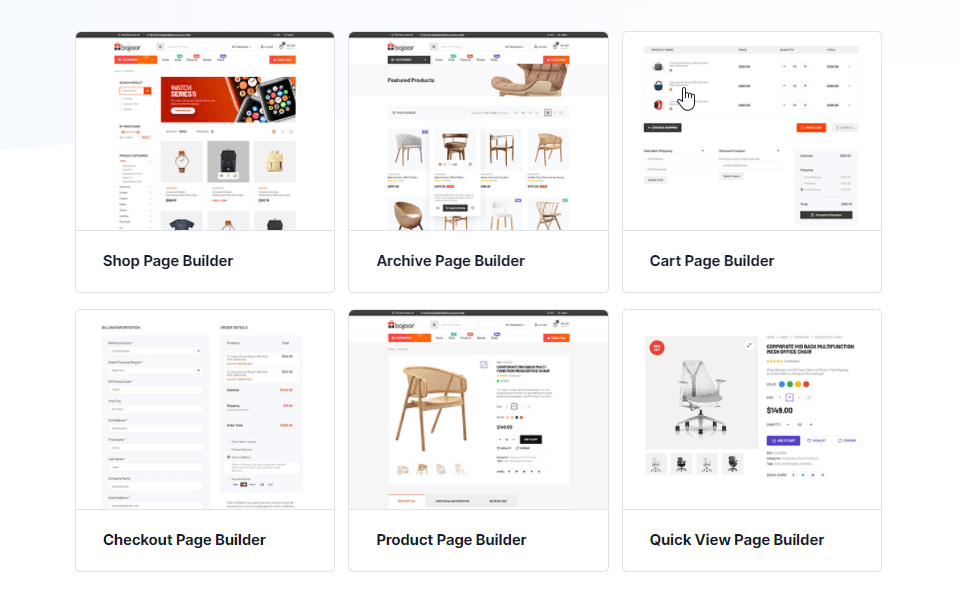 Templates for shop page