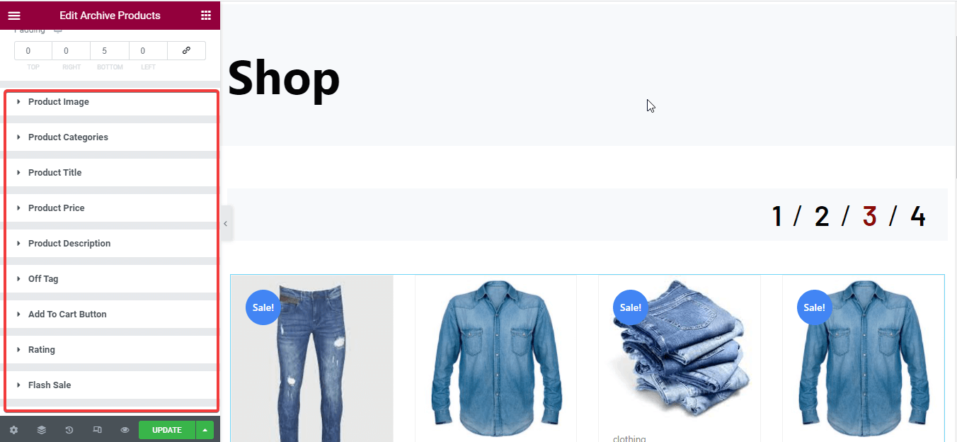 Shop page customization with archive product widget
